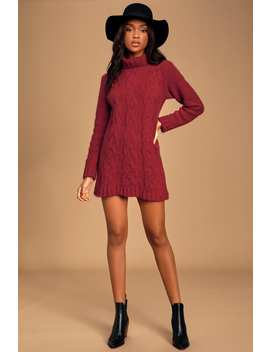 Joyous Burgundy Cable Knit Turtleneck Sweater Dress by Lulus