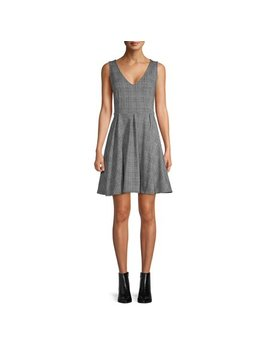 Scoop Fit And Flare Sleeveless Knit Dress Glen Plaid Women's by Scoop