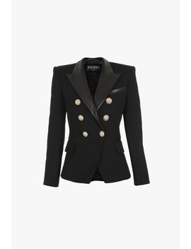 Black Double Breasted Wool And Leather Blazer by Balmain