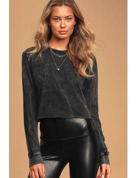 Call The Shots Washed Black Long Sleeve Cropped Tee by Lulus