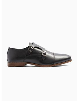 Black Leather Ollie Monk Shoes by Topman
