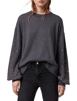 Oversize Studded Blouson Sleeve Sweatshirt by Allsaints