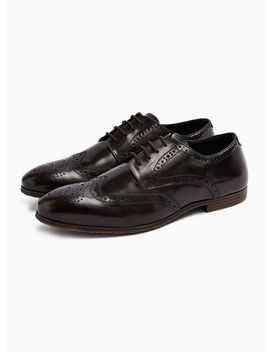 Burgundy Leather Ollie Brogues by Topman