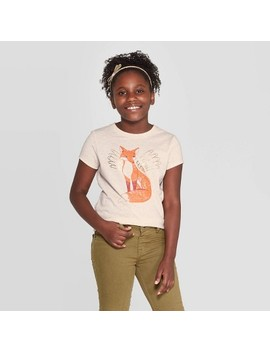 Girls' Short Sleeve Fox Graphic T Shirt   Cat & Jack™ Cream by Cat & Jack