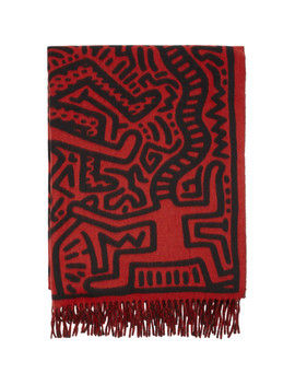 Red & Black Keith Haring Edition Magnolia All Over Print Scarf by Études