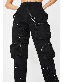 Black Cargo Jeans With Round Pocket Detail by Jaded London