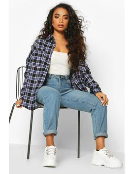 Petite Check Oversized Shirt by Boohoo