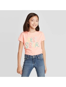 "Girls' Short Sleeve ""Best Sister"" Graphic T Shirt   Cat & Jack™ Peach by Cat & Jack"