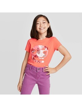 Girls' Short Sleeve Cat Graphic T Shirt   Cat & Jack™ Orange by Cat & Jack