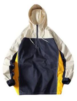Sale Color Blocking Splicing Half Zip Hooded Jacket   Multi L by Zaful