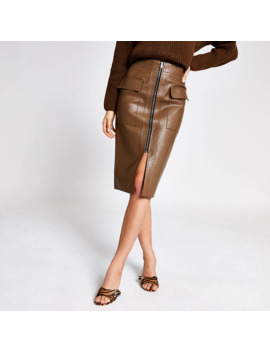 Brown Faux Leather Utility Pencil Skirt by River Island