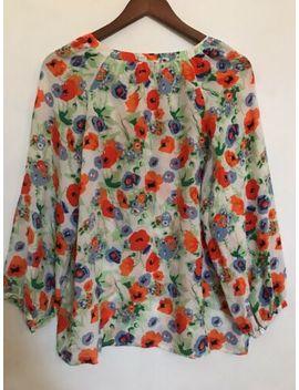 Joie Women's Mc Kenna Carrot Silk Poppy Floral Career Blouse Sz M by Joie