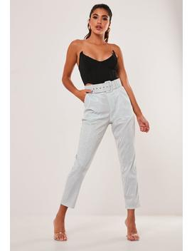 Gray Metallic Belted Cigarette Trousers by Missguided