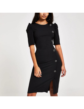 Black Button Front Puff Sleeve Midi Dress by River Island