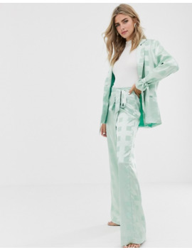Dusty Daze Wide Leg Pants With Belted Waist In Tonal Check Satin Two Piece by Dusty Daze