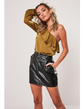 Gold One Shoulder Ruffle Blouse by Missguided