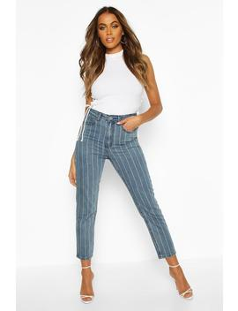 High Rise Side Stripe Straight Leg Jean by Boohoo