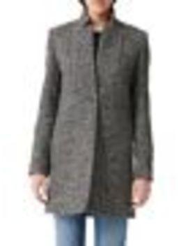 Galron Herringbone Wool Blend Coat by Maje