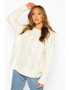 All Over Cable Knit Longline Jumper by Boohoo