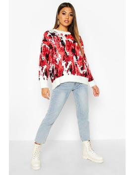 Oversized Fluffy Printed Jumper by Boohoo