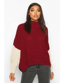 Tall Roll Neck Colour Block Jumper by Boohoo