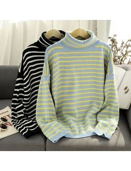 Puye   Striped Turtle Neck Sweater by Puye