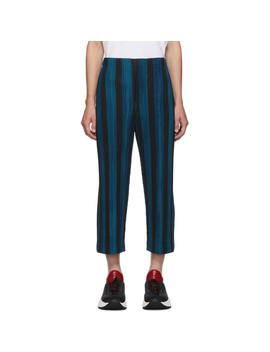 Blue & Black Stripe Rod Trousers by Homme PlissÉ Issey Miyake
