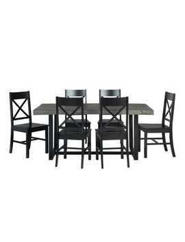Rustic Farmhouse Gray &Amp; Black 7 Piece Dining Set by Pier1 Imports