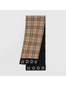 Star Detail Check Merino Wool Jacquard Scarf by Burberry