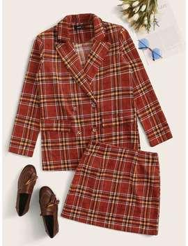 SheinDouble Breasted Tartan Blazer & Skirt Set by Sheinside