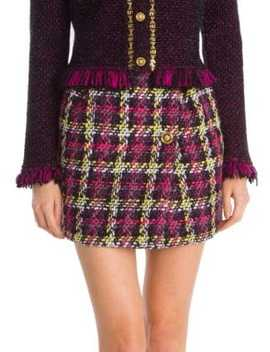Multi Tweed Wool Blend Mini Skirt by Versace