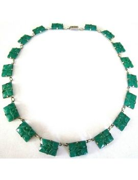 Art Deco Jade Green Carved Glass Vintage Necklace by Ebay Seller