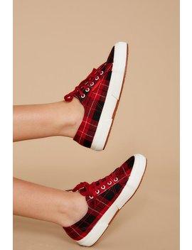 2750 Woolplaid Red Multi Sneakers by Superga