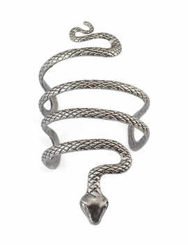 1pc Indiana Ethnic Womans Tibetan Bangle Vintage Silver Evil Snake Open Cuff Arm Armlet Wide Bracelet Womens Jewelry   by Geomee