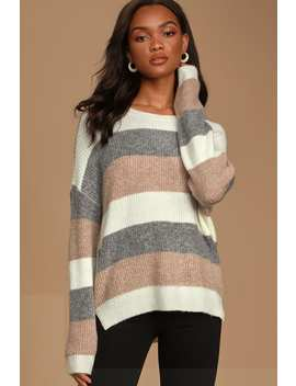 Come Get Cozy Ivory Multi Striped Knit Sweater by Lulus
