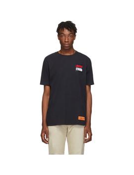 Black 'style' Dots Regular T Shirt by Heron Preston