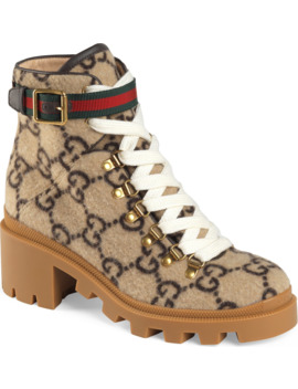 Trip Gg Monogram Wool Combat Boot by Gucci
