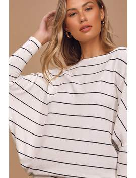 Verla White And Black Striped Dolman Sleeve Sweater Top by Lulus Basics