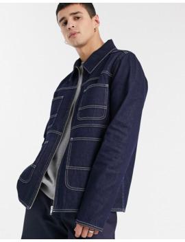 Asos Deisgn Denim Jacket In Indigo With Contrast Stitch by Asos Design