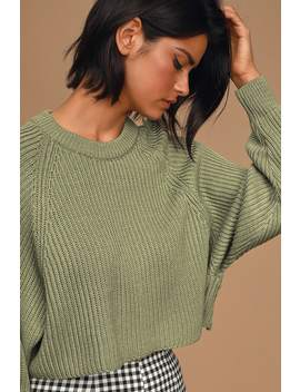 Detour Olive Green Knit Dolman Sleeve Cropped Sweater by Lulus
