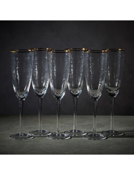 Gold Rim 6 Pack Flute Glasses by Target