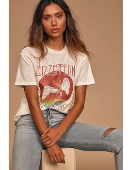 Led Zeppelin 1975 Tour White Graphic Boyfriend Tee by Daydreamer