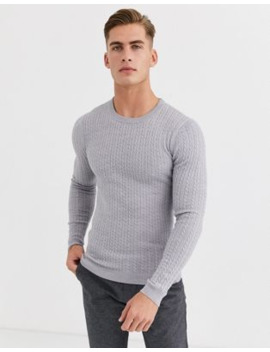 Asos Design Merino Wool Cable Knit Sweater In Light Gray by Asos Design