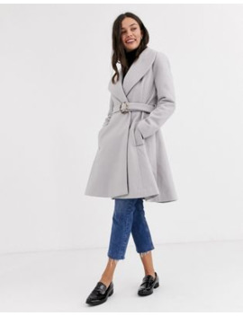 Asos Design Longline Belted Skater Coat In Gray by Asos Design