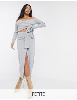 Missguided Petite Knitted Two Piece In Gray by Asos