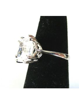 Sterling Silver Huge Blinding Ice Princess Cut Cz Ring Size 6 by Ebay Seller