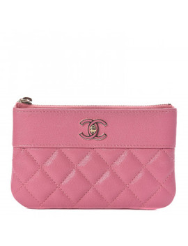 Chanel Sheepskin Quilted Small Vintage Mademoiselle Cosmetic Case Dark Pink by Chanel