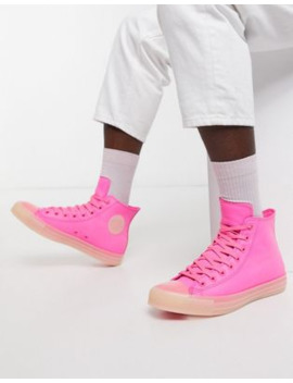 Converse Chuck Taylor Leather Sneakers In Neon Pink by Converse
