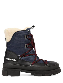 40 Mm Faux Leather & Denim Hiking Boots by Dsquared2