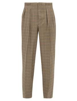 High Rise Checked Wool Blend Trousers by King & Tuckfield